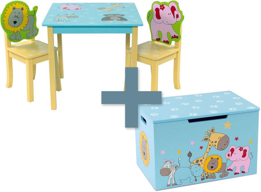 4 tlg mobilier pour enfants coffre banc animals si ge enfant groupe ensemble de si ges enfants. Black Bedroom Furniture Sets. Home Design Ideas