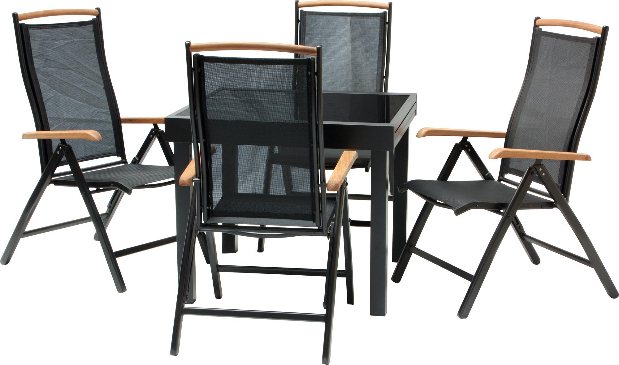 Salon de jardin diplomat quadro noir chaise pliable 3 variantes table ebay - Chaise salon de jardin noir ...