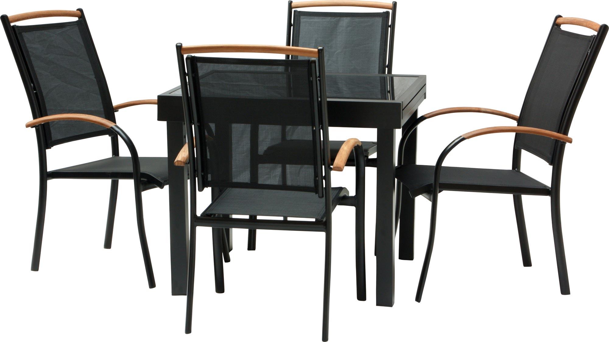 Salon de jardin diplomat quadro noir chaise empilable 3 variantes tuinset ebay - Chaise salon de jardin noir ...