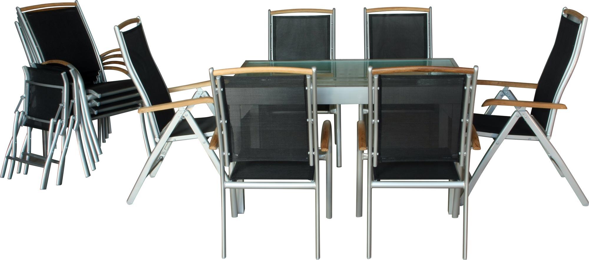 ib style diplomat xxl salon de jardin alu 13pcs i table 135 270 i argent teck ebay. Black Bedroom Furniture Sets. Home Design Ideas