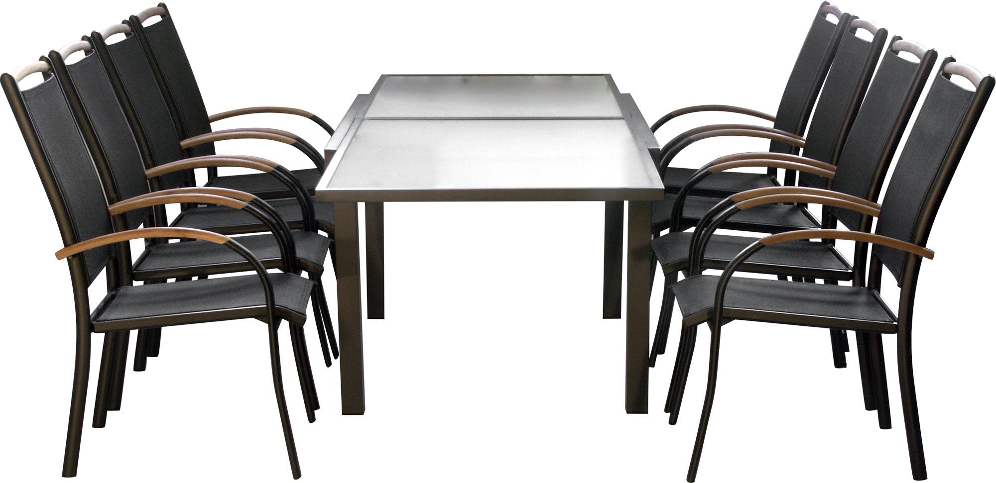 Premium set mobili da giardino diplomat xxl 9 pezzi nero - Mobili da giardino in teak ...