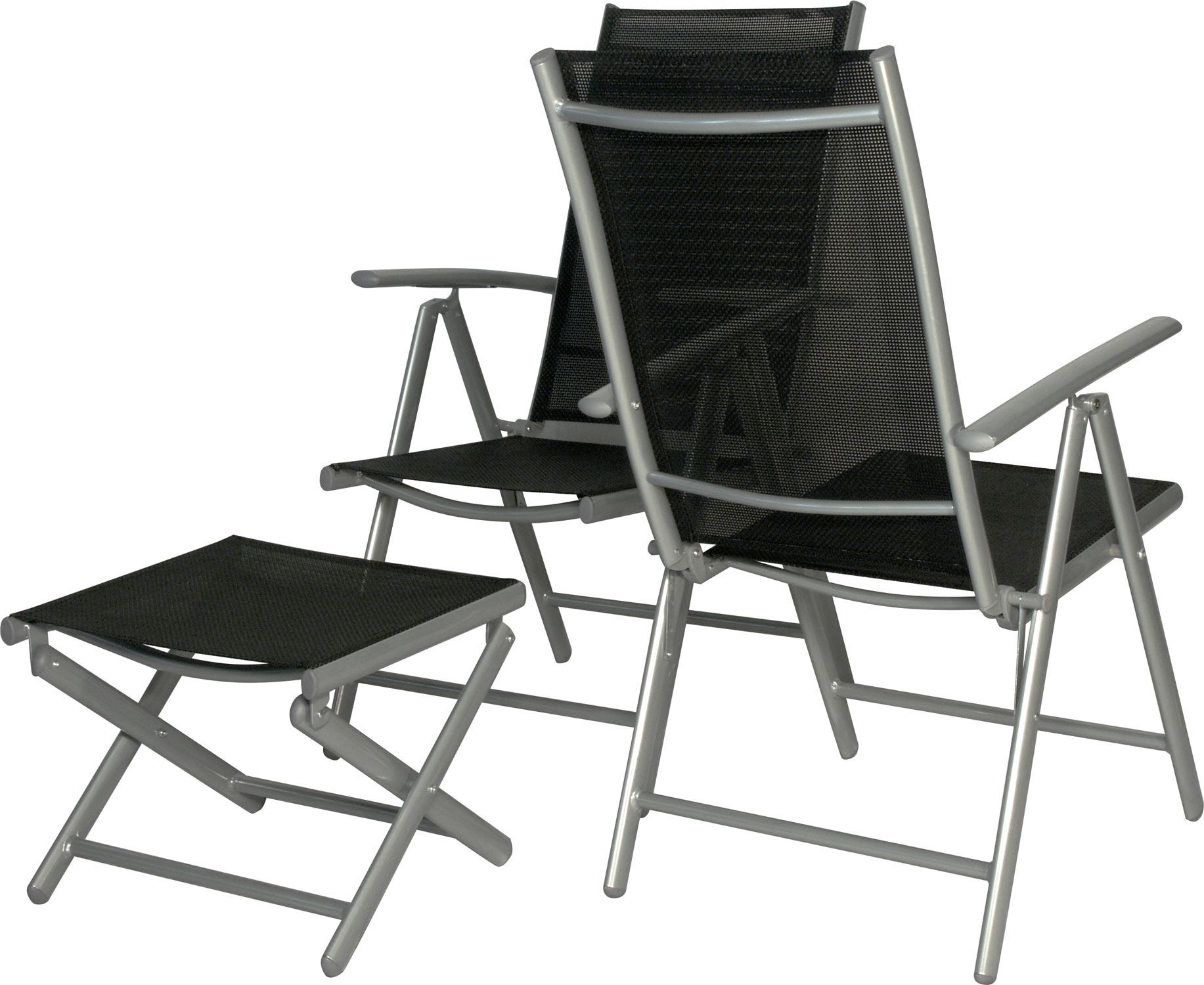 2 x hochlehner 2 x fussbank star alu schw klappsessel gartenstuhl gartenm bel ebay. Black Bedroom Furniture Sets. Home Design Ideas