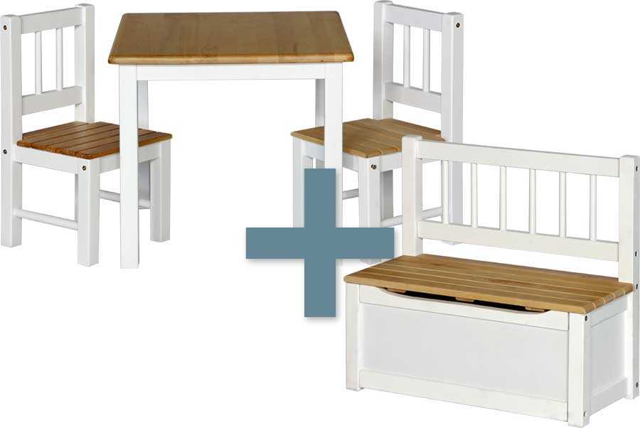 kinderm bel noa kindersitzgruppe sitzgruppe kindertisch 2 st hle truhenbank ebay. Black Bedroom Furniture Sets. Home Design Ideas