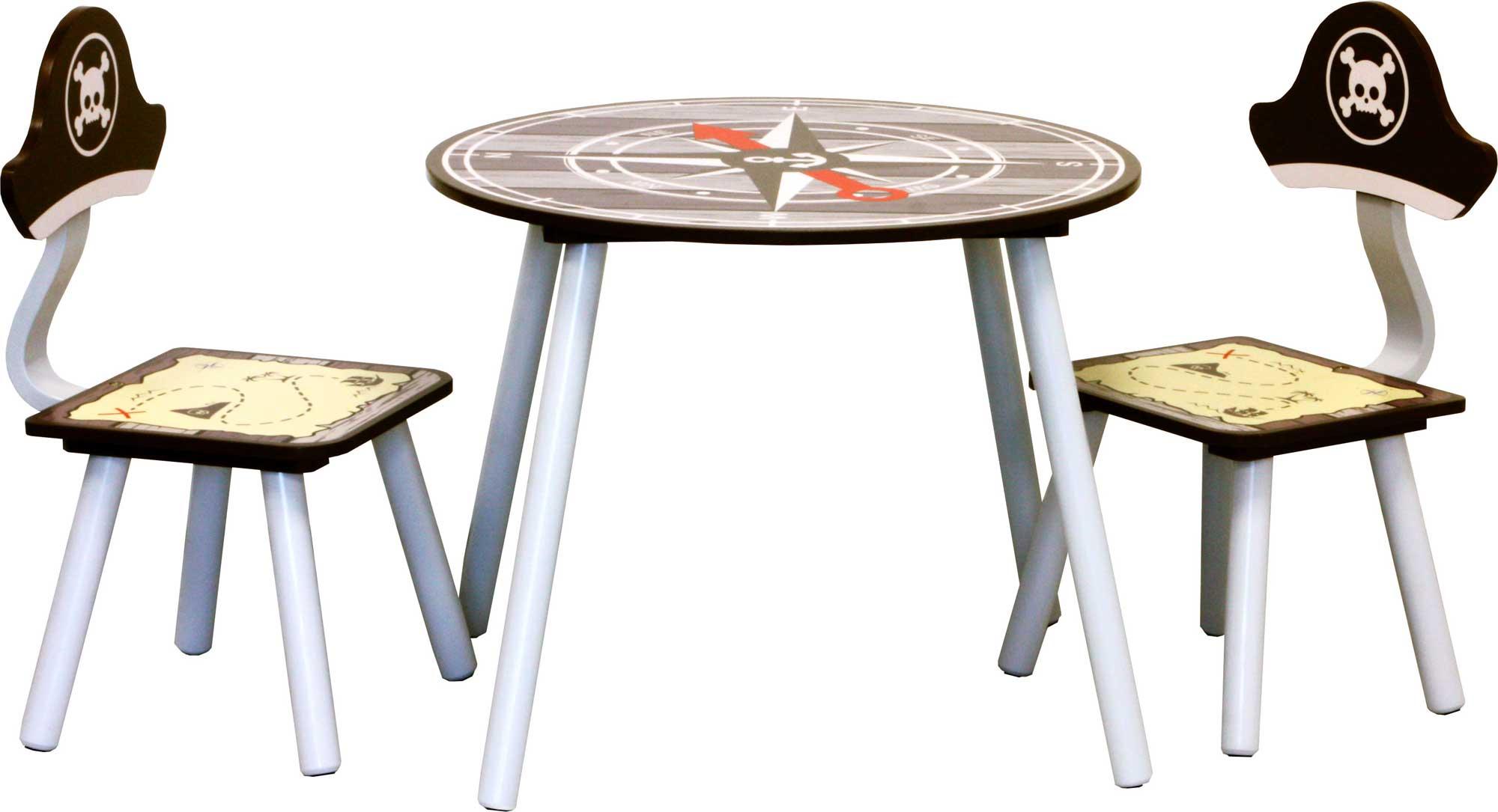 tisch mit st hlen und truhenbank pirate kinderm bel garnitur kinder sitzgruppe ebay. Black Bedroom Furniture Sets. Home Design Ideas
