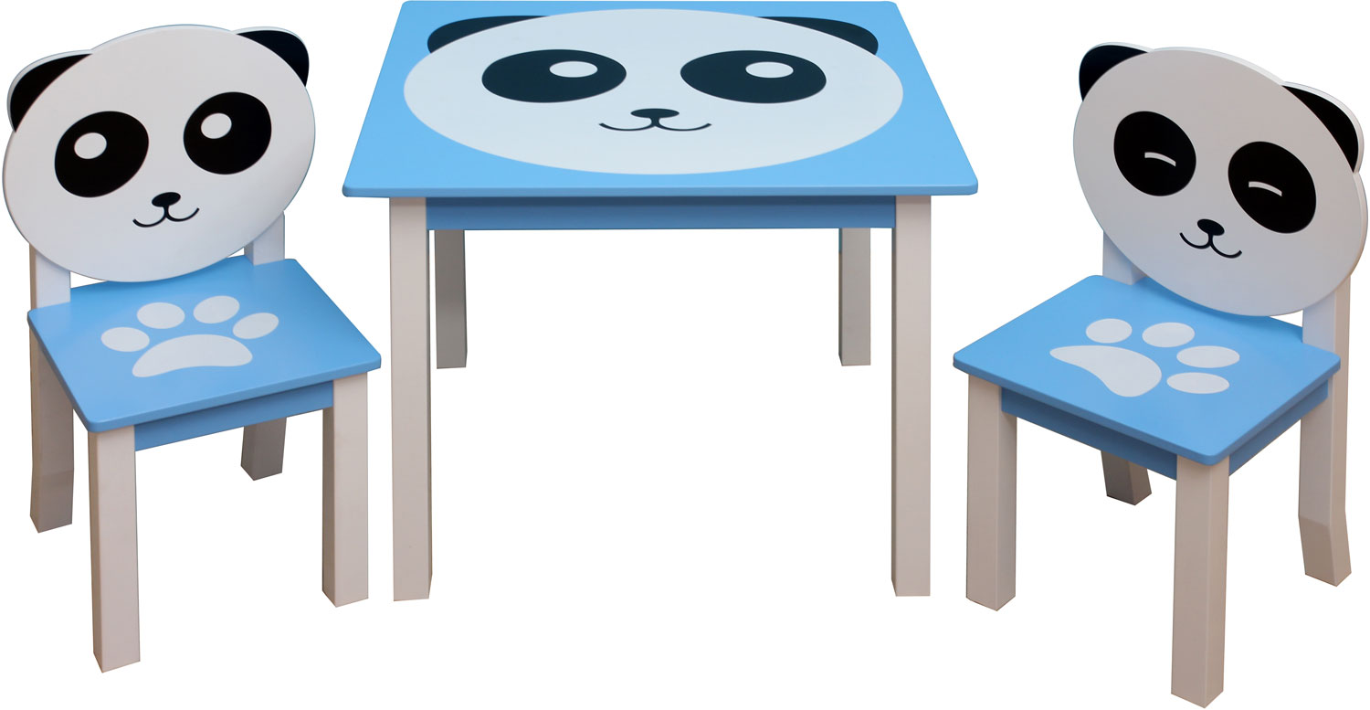 Set di mobili per bambini panda con cassapanca 3 for Table et chaise bebe 2 ans