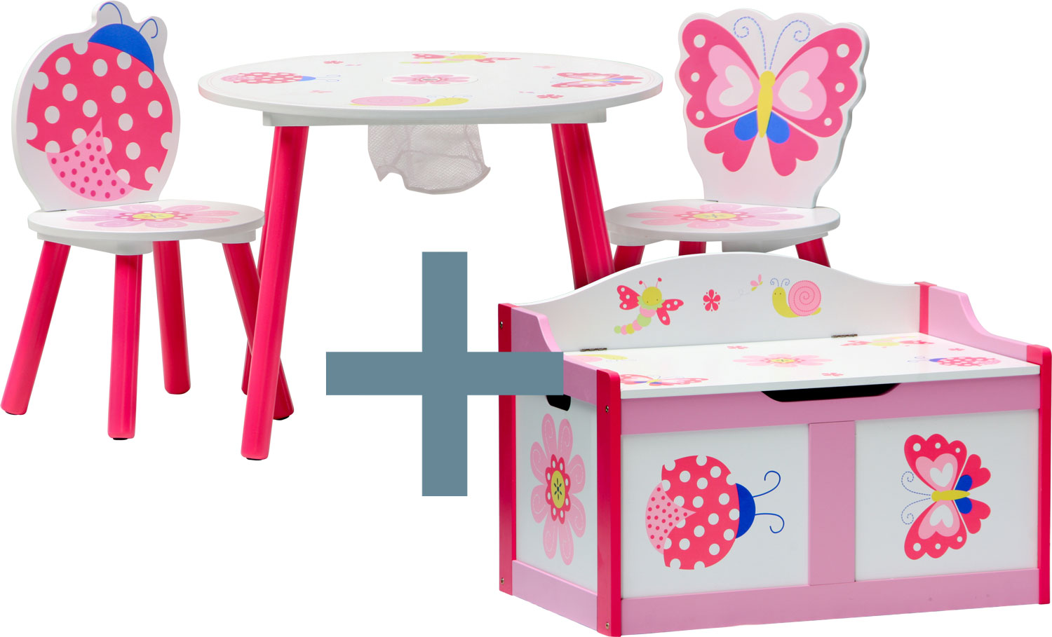 ensemble table et chaises enfant papillon coffre. Black Bedroom Furniture Sets. Home Design Ideas
