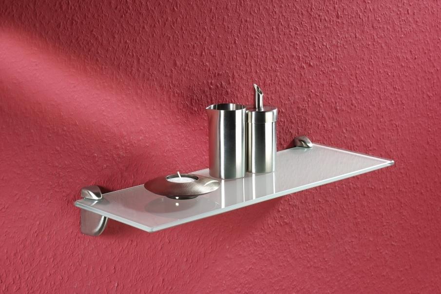 Glasregal Glasboden Badregal Wandregal Ablage 90 cm breit satiniert