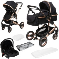 SOLE 3 in 1 Kinderwagen Schwarz / Champagner