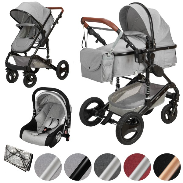 SOLE 3 in 1 Kinderwagen Hellgrau / Schwarz