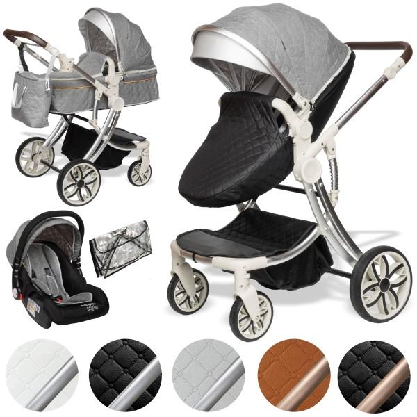Juma 3 in 1 Kombi- Kinderwagen inkl. Babyschale | Grau/ schwarz