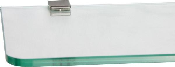Glasregal 8mm abgerundet + Clip CUBE Edelstahloptik