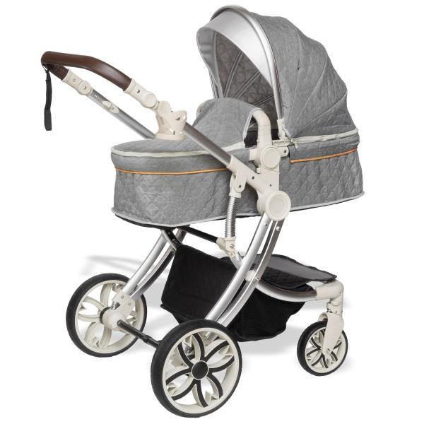 Juma 3 in 1 Kinderwagen inkl. Babyschale   Grau/ schwarz