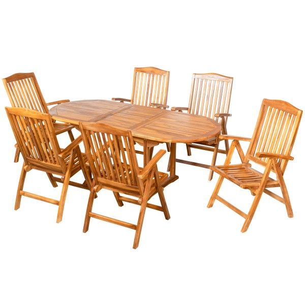 Royal Teak Tischset Ausziehtisch + 6 Stühle mit Armlehne