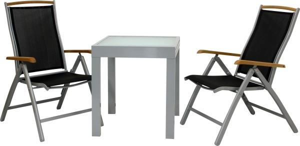 DIPLOMAT SILBER - Ausziehtisch S + 2 Stühle