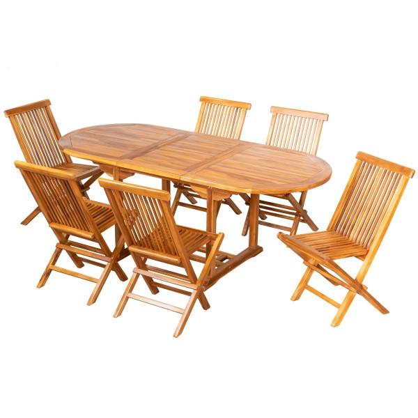 Royal Teak Ausziehtisch + 6 Stühle ohne Armlehne