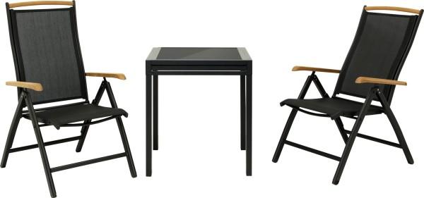 DIPLOMAT SCHWARZ - Ausziehtisch S + 2 Stühle
