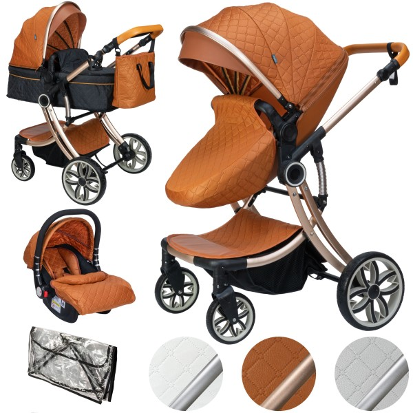 Juma 3 in 1 Kombi- Kinderwagen inkl. Babyschale | Marron