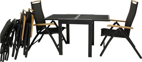 DIPLOMAT SCHWARZ - Ausziehtisch S + 4 Stühle + FB