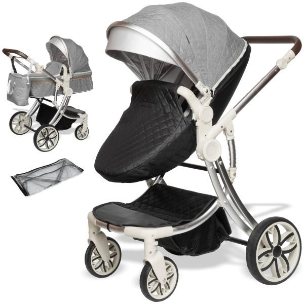 Juma 2 in 1 Kinderwagen ohne Babyschale | Grau / Schwarz