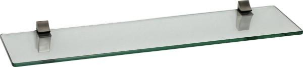 Glasregal 8mm eckig + Clip ECO Edelstahloptik
