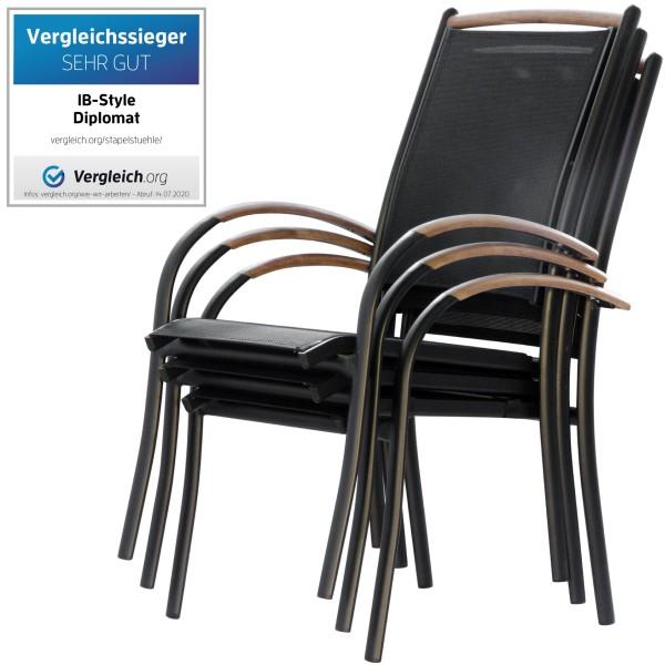 DIPLOMAT SCHWARZ - Stapelstuhl Set
