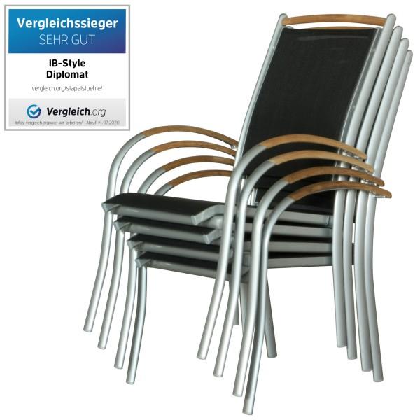 DIPLOMAT SILBER - Stapelstuhl Set