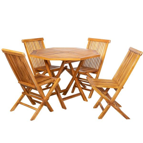 Royal Teak Tischset 8-eckig +4 Stühle