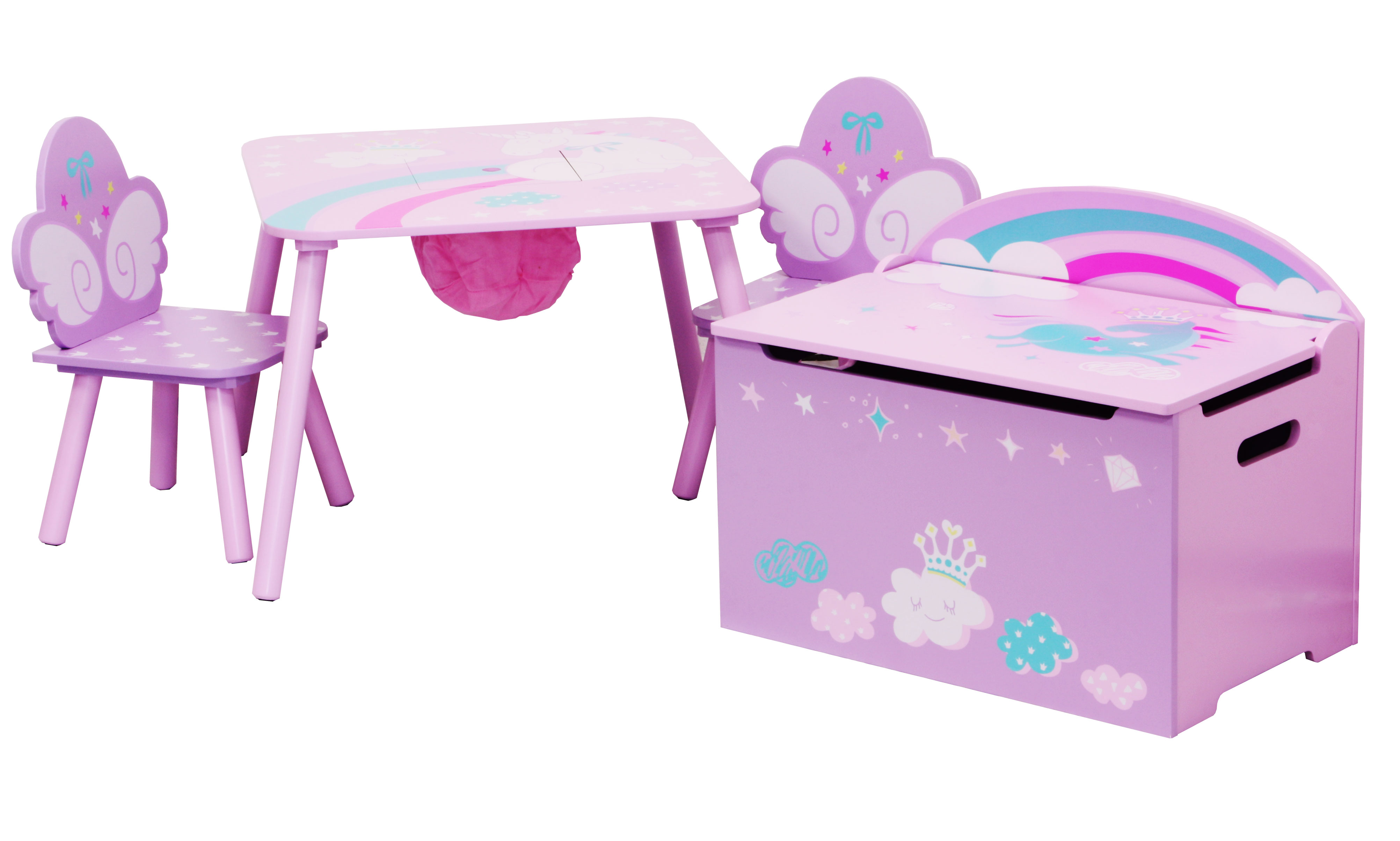 Pink Fairy Wishes Bench Seat With Storage Toy Box Seating: Table And Chairs With Chestbench